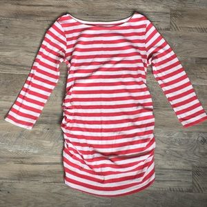 Motherhood Maternity Side Rouched Striped Top